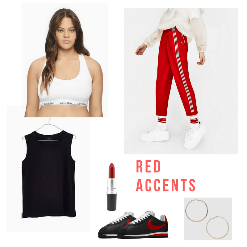 Bralette outfits: Cute athleisure outfit with a calvin klein bralette, red joggers, black tank, red lipstick, gold hoop earrings, and black and red nikes