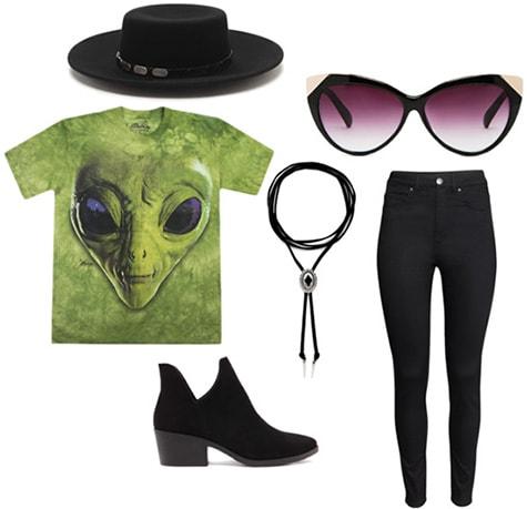 Outfit idea: Alien tee shirt, black jeans, sunglasses, ankle booties, wide hat