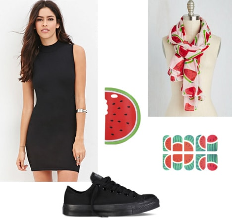 Watermelon inspired outfit: Black dress and converse, fruit accessories and nail wraps
