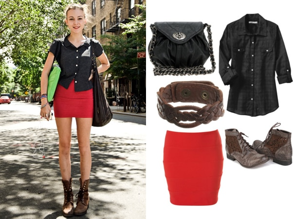 college fashion street style outfit with a red skirt