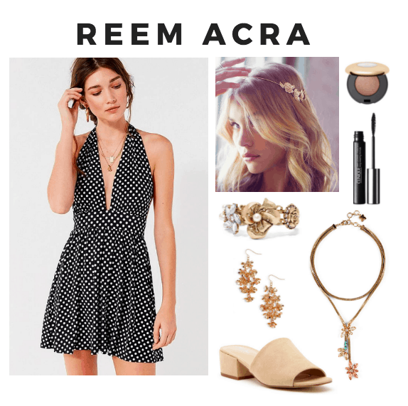 halter neck dress, gold bangle, gold earrings, nude mules, floral necklace, mascara, gold shadow, gold headband