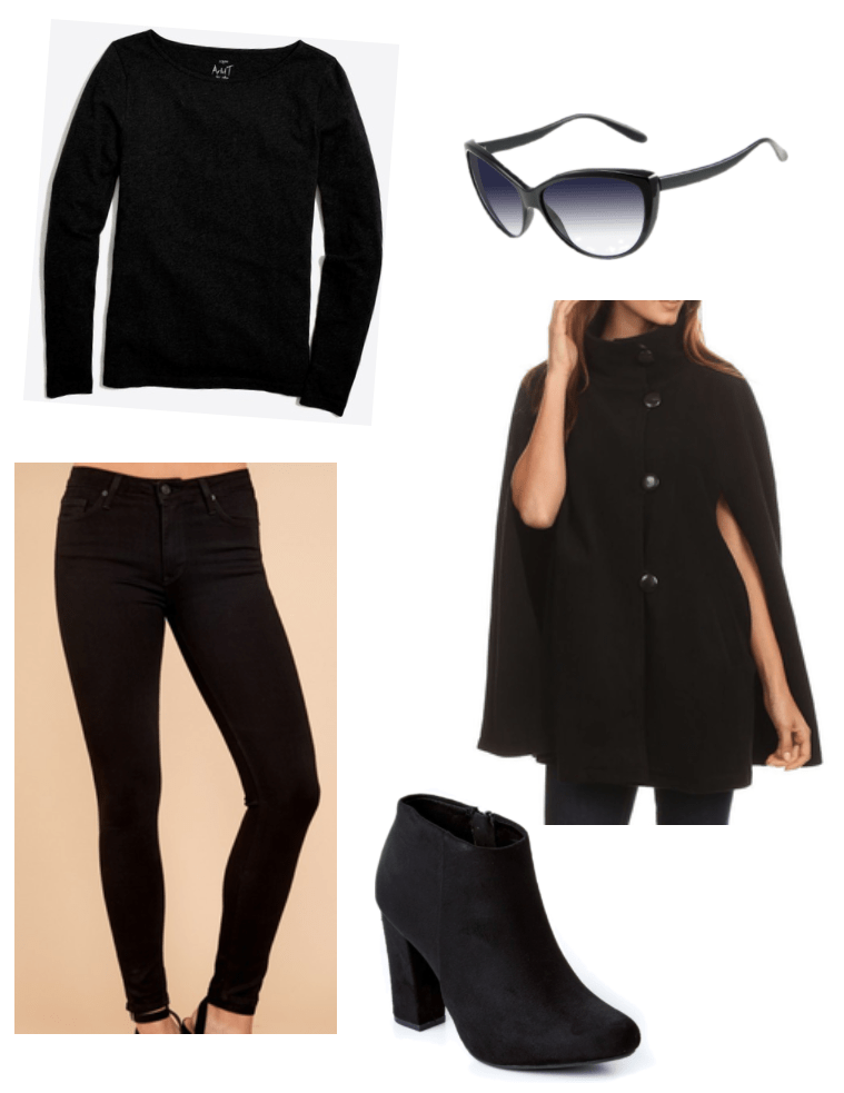 Outfit inspired by Reese Witherspoon: All black outfit with cape, black skinny jeans, black sweater, black boots