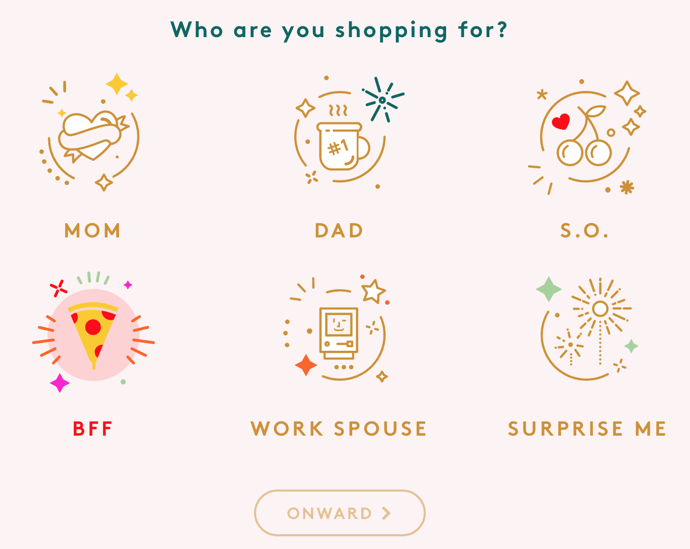 A screenshot of Refinery29's Gift Curator shopping options including Mom, Dad, S.O., BFF, Work Spouse, and Surprise Me