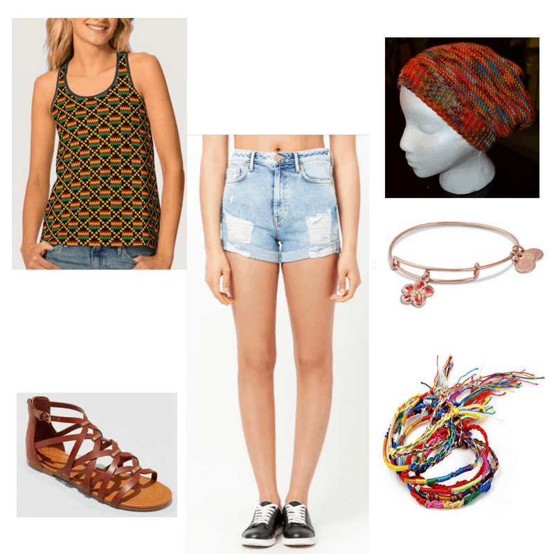 Reggae Music-inspired outfit with tank top, denim shorts, beanie, sandals, and bracelets