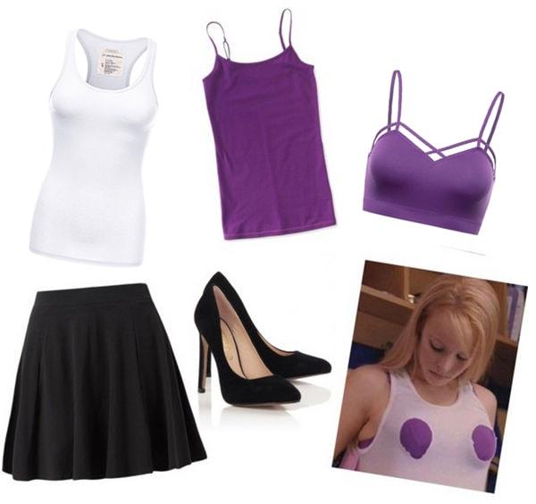 Last minute costume idea for Halloween: Regina George with purple bra and cutout tank