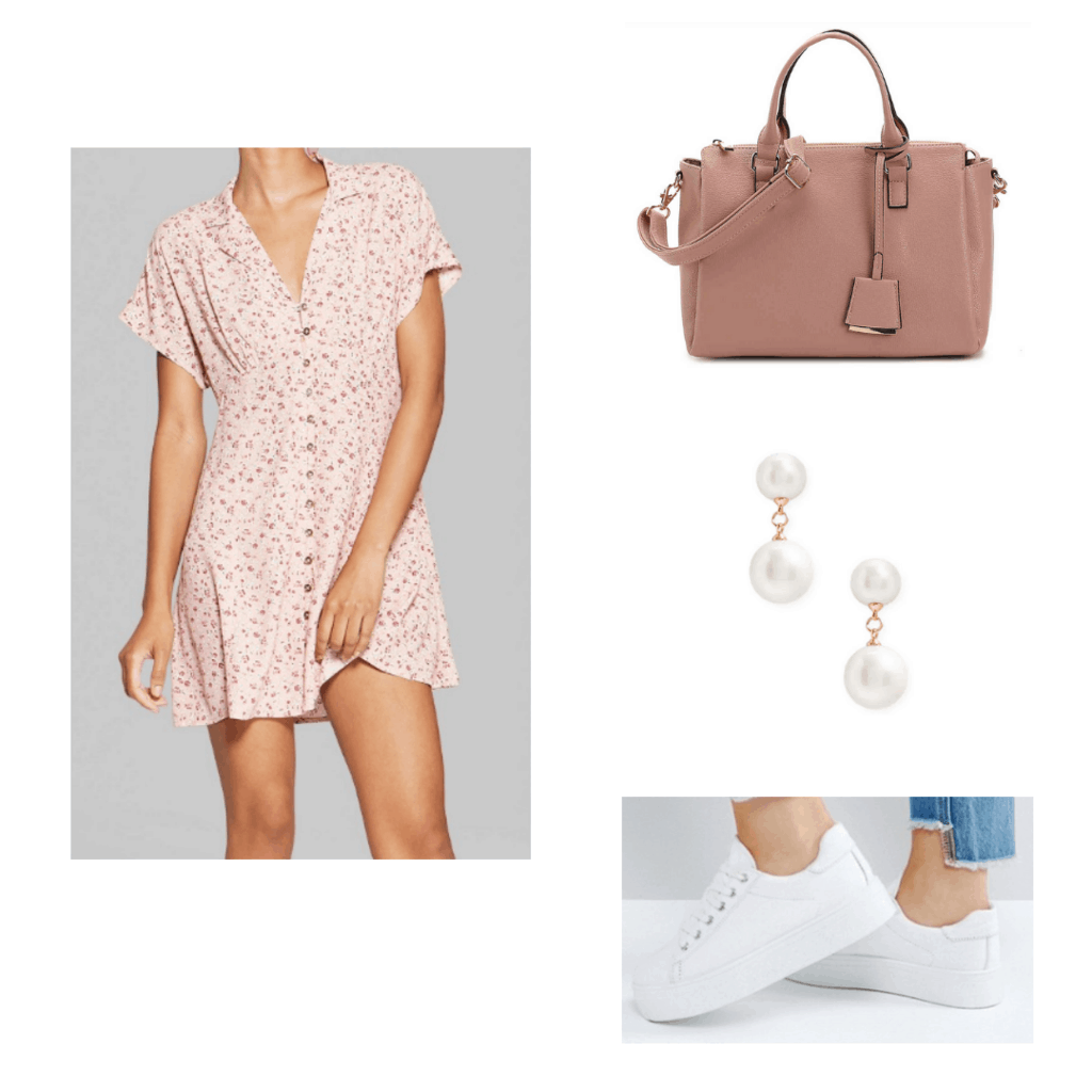 Pink retro fit dress with pink handbag, white sneakers, and dangly pearl earrings