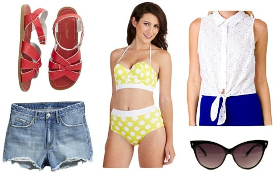 Retro inspired beach outfit