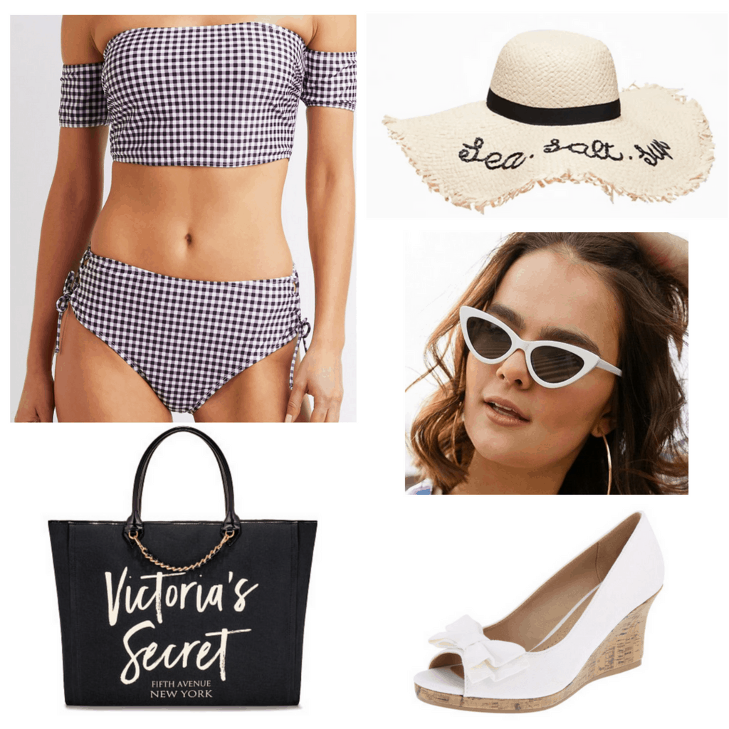 Retro plaid bikini with hat, sunglasses, bag and wedges