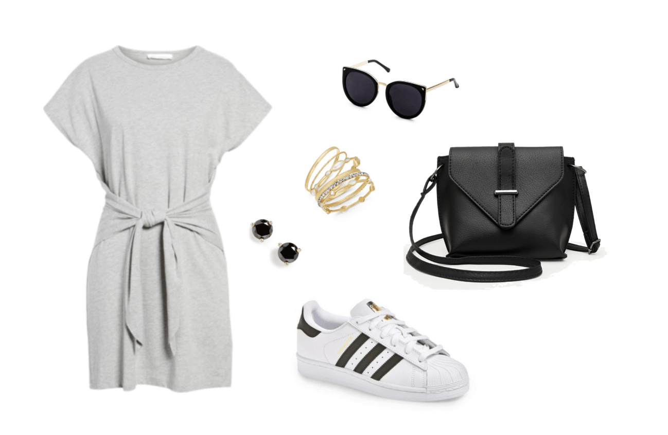 Retro sneakers outfit: Black and white adidas superstar sneakers, gray tee shirt dress, black bag, sunglasses