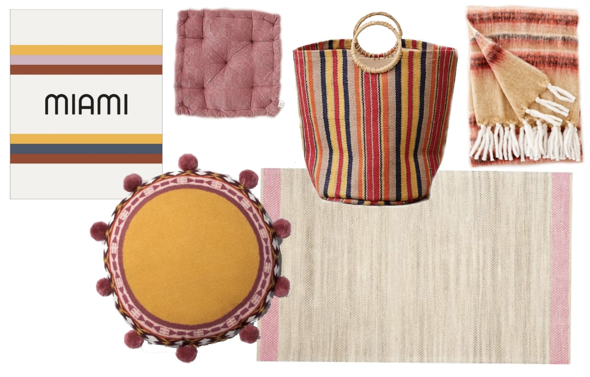 Retro yellow and pink dorm room inspiration shopping guide with pieces from Urban Outfitters, Target, and Dormify.