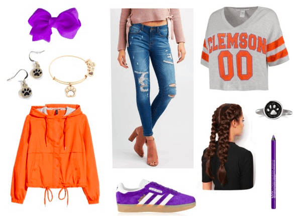 purple bow, eyeliner sneakers, paw print earrings, bracelet and ring, orange anorak, Clemson t-shirt, distressed jeans and French braids