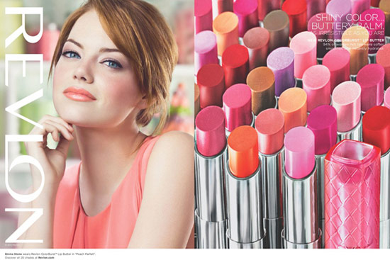 Revlon Colorburst Lip Butter ad featuring Emma Stone
