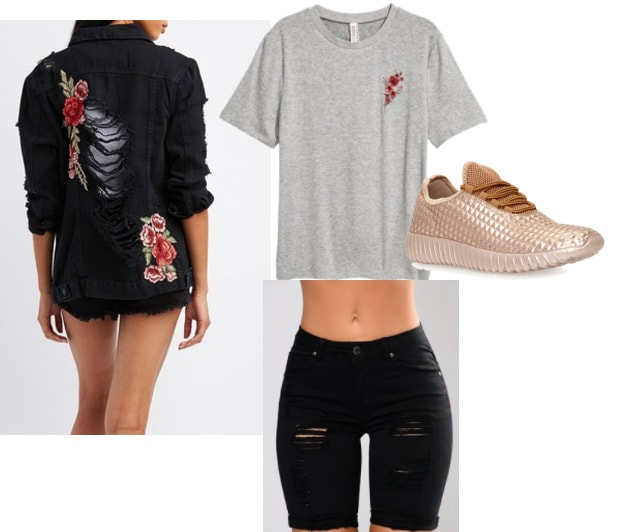 How to style an embroidered black denim jacket with ripped jeans, a gray t-shirt, and rose gold sneakers