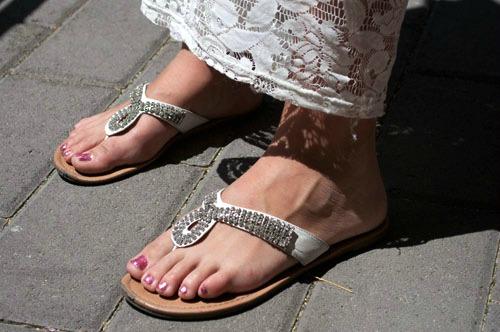 Rhinestone leather sandals at unlv