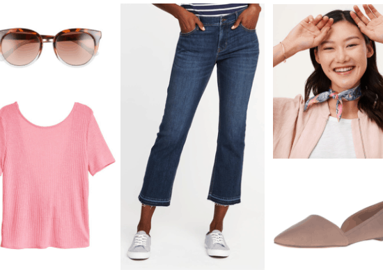 Summer outfit idea: pink round neck tee shirt, cat eye sunglasses, cropped flare jeans in dark wash, neck scarf, taupe slip on flats