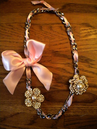 Finished Ann Taylor-style DIY Ribbon Necklace