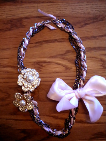 Finished DIY Ribbon Necklace with an extra chain