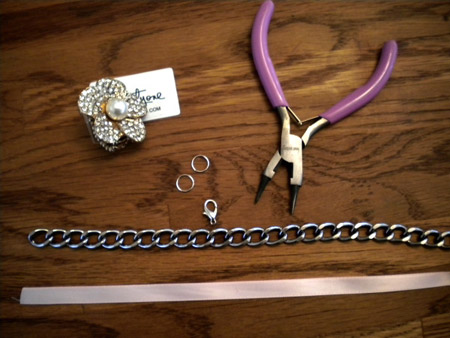Supplies for the DIY Ribbon Necklace