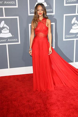 Rihanna in Custom Azzedine Alaïa at the 2013 Grammys