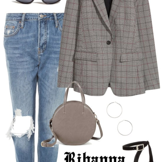 Rihanna Outfit: black skinny jeans, black ribbed turtleneck top, brown faux suede trucker jacket, black pointy toe sock booties, chunky gold hoop earrings, shield sunglasses, and printed belt bag