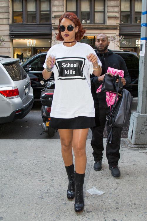 Rihanna grahic tee, black skirt, choker