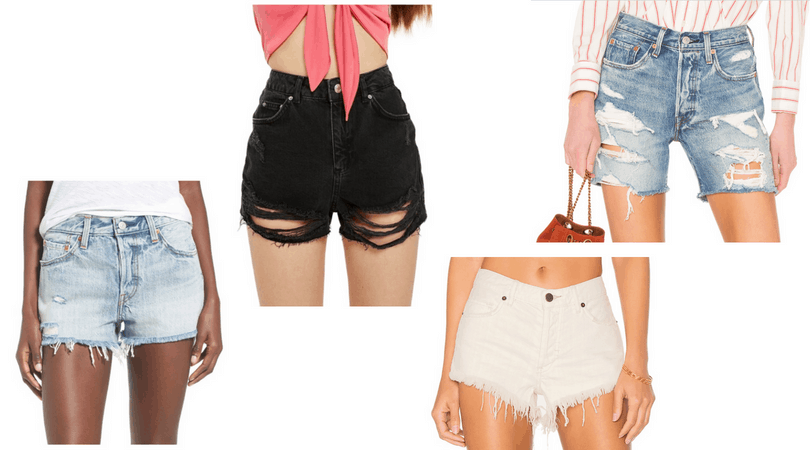 Ripped denim shorts in light wash, black, white, and a long cut with rips