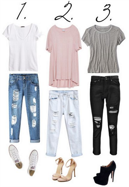 ripped jeans and t-shirt looks