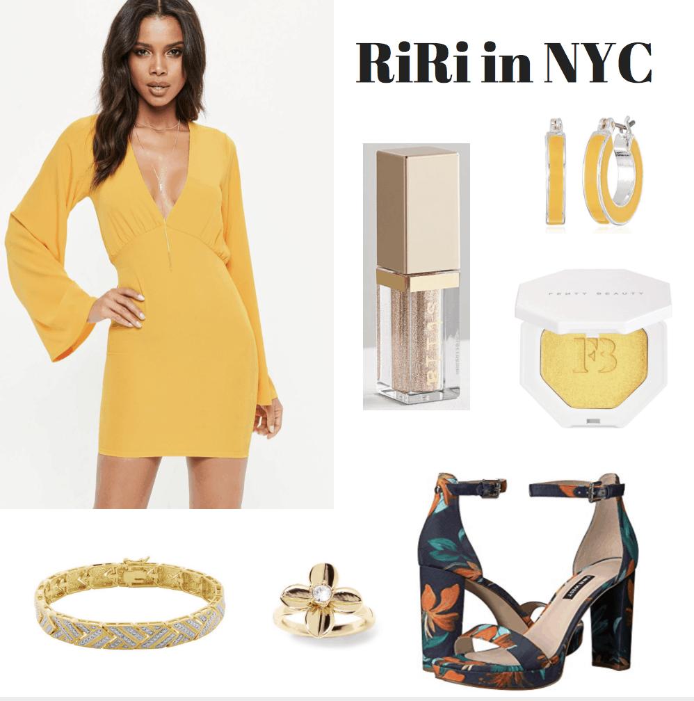 yellow dress, liquid eyeshadow, hoop earrings, highlighter, heels, ring, bangle