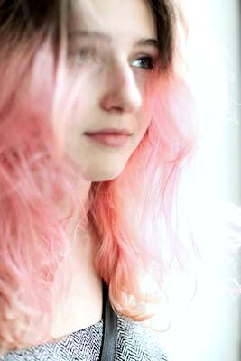 RISD student with pink hair
