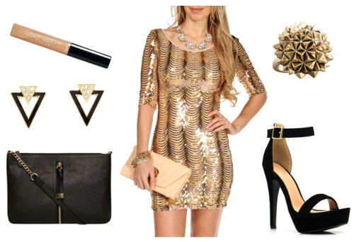 Rise gold sequin dress