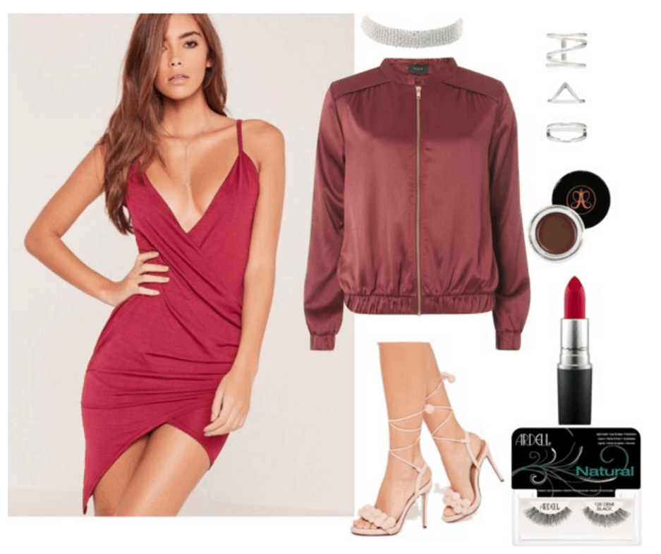 Red dress, red bomber, nude heels