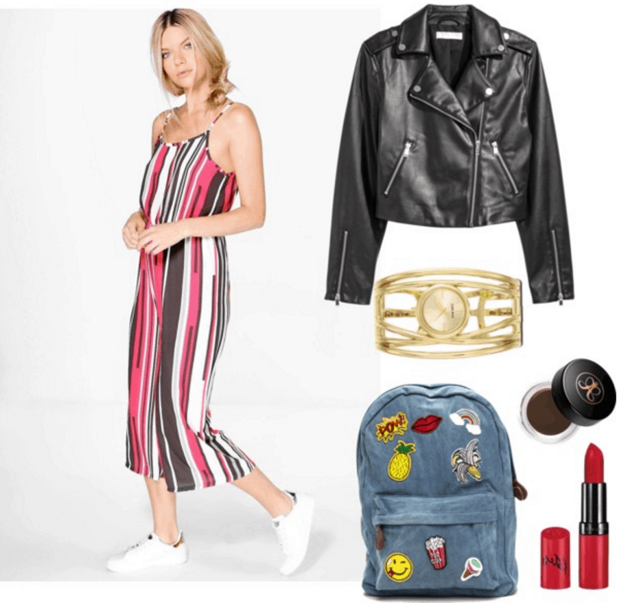 Printed jumpsuit with leather jacket