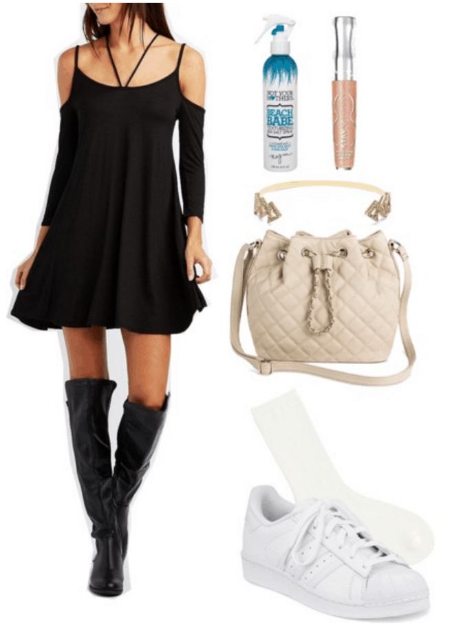 Black dress with Adidas sneakers