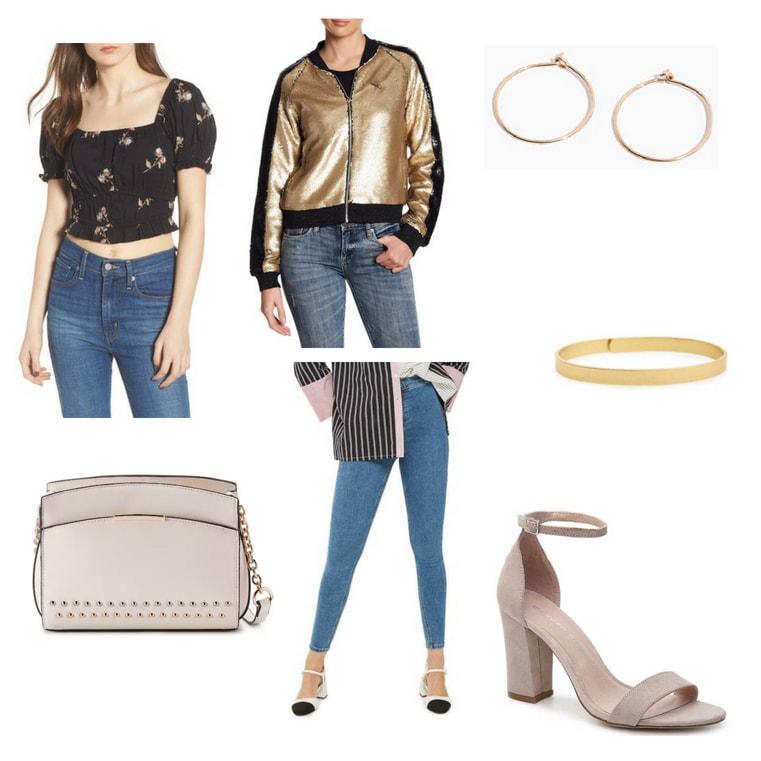 R&B-inspired look with crop top, jeans, metallic jacket, hoop earrings, gold bangle, bag, and nude heels