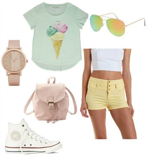 Road trip outfit graphic tee and shorts
