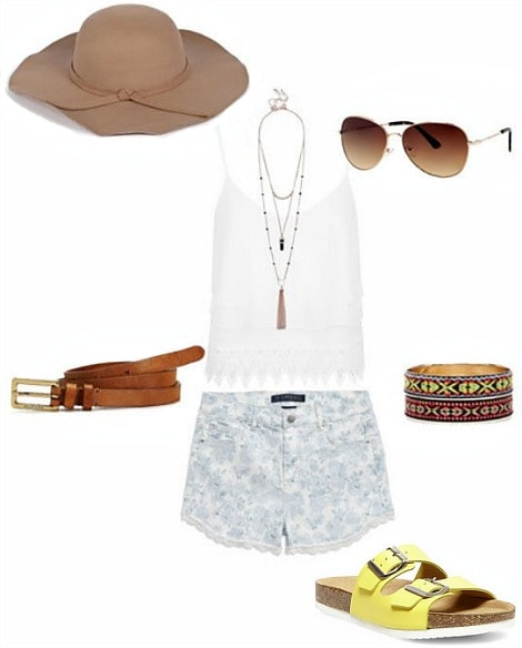Road trip outfit printed shorts and crochet tank