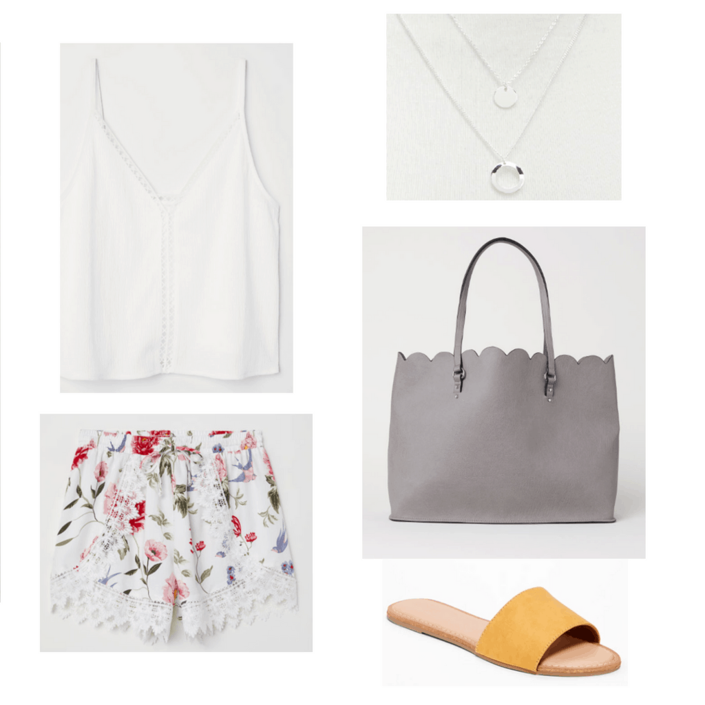 white tank, white floral shorts, silver necklace, grey tote bag, yellow shoes