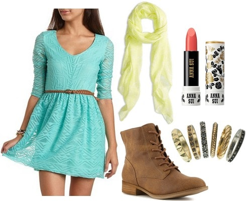Robin egg blue dress, yellow scarf, boots