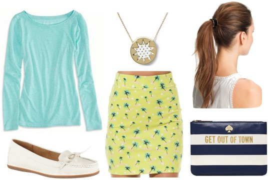 Robin egg blue top, yellow skirt, white loafers, kate spade bag