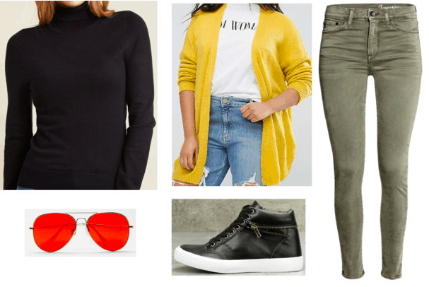 black turtleneck yellow cardigan green jeans black patent leather high top sneakers red aviators teen titans casual cosplay teen titans robin outfit