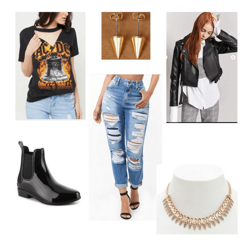 Rock Music-inspired outfit with band tee, leather jacket, boyfriend jeans, chelsea boots, spiked earrings, and statement necklace