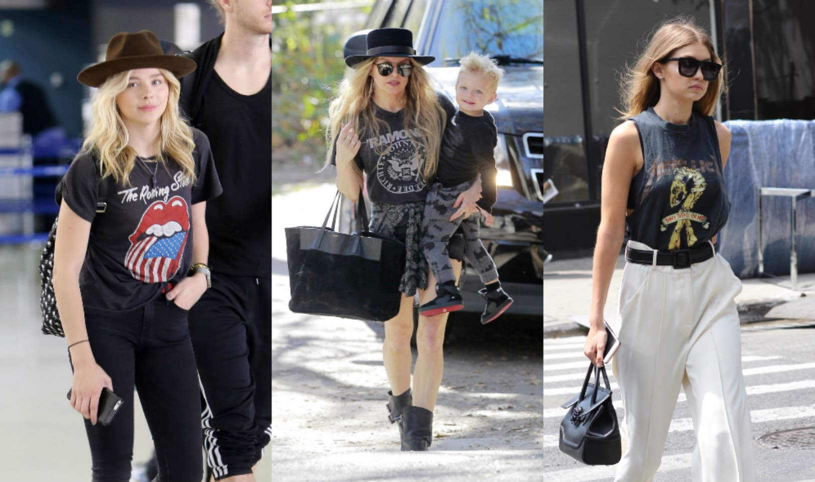 Chloe Moretz, Fergie, and Gigi Hadid wearing rock and roll tees