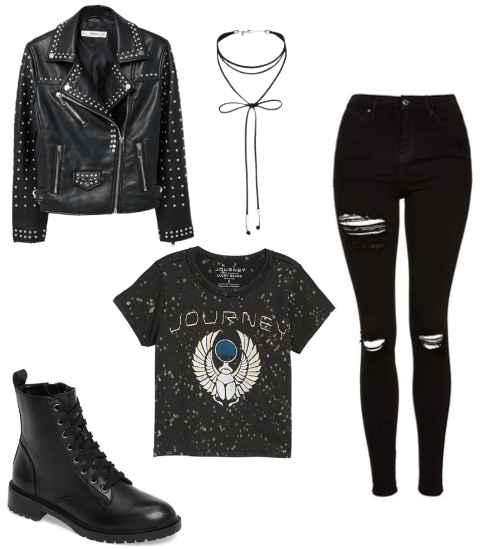 Women's rock 'n' roll party theme outfit with ripped black jeans, Journey tee shirt, studded leather jacket, combat boots, wrap choker