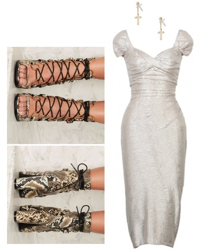 Rockabilly outfit idea: Metallic dress with cap sleeves and a sweetheart neckline, lace-up snakeskin heels, and cross earrings