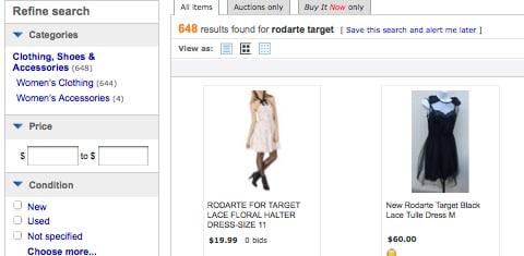 Rodarte for Target Ebay Search