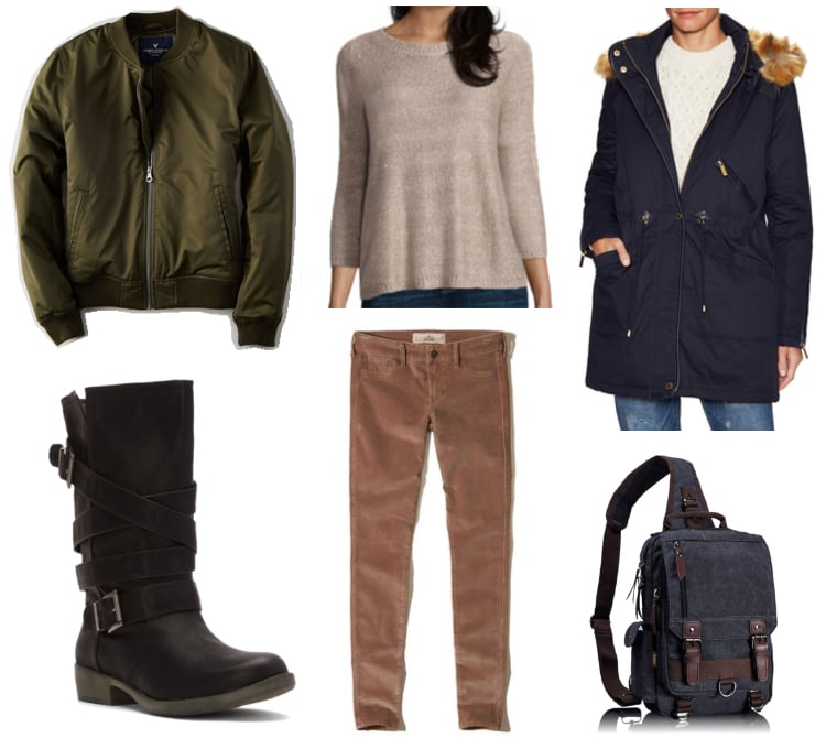 Outfit inspired by Cassian Andor from Rogue One, a Star Wars Story: Green bomber jacket, oatmeal sweater, corduroy skinnies, navy blue utility bag