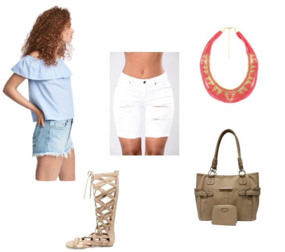 How to style an off-the-shoulder light blue top with ripped white denim shorts, gladiator sandals, tan top