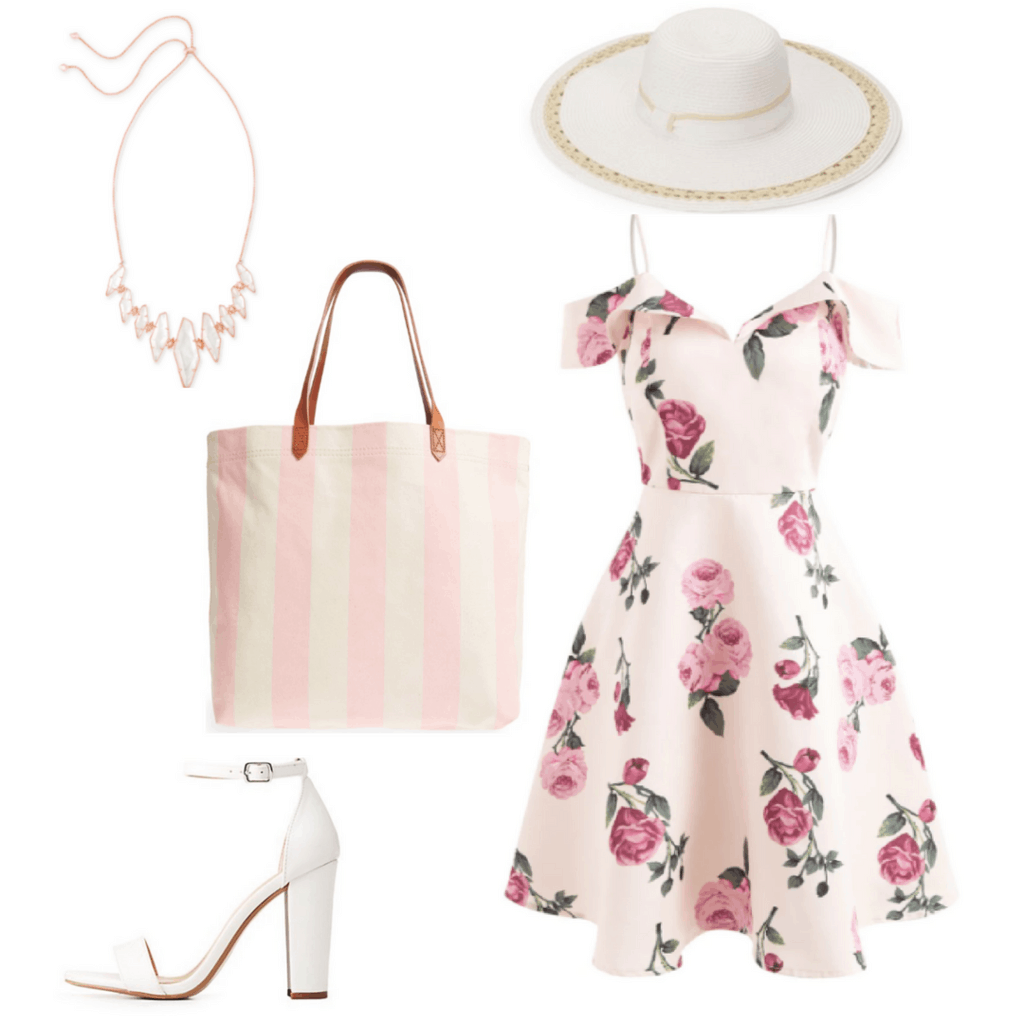 Feminine and romantic summer outfit: Floral dress, striped tote bag, statement necklace, oversized hat, high heels