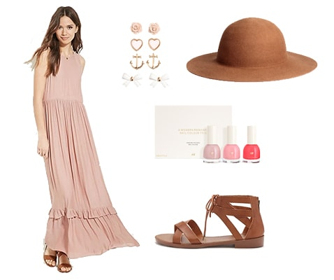 Boho romantic pink dress outfit with hat