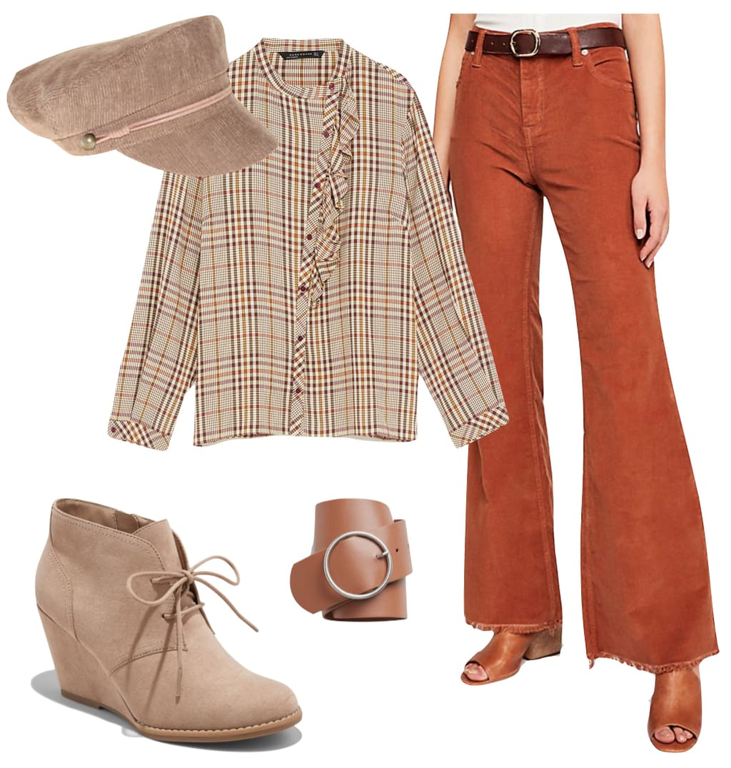 Romee Strijd Outfit: brown corduroy flare pants, beige cabby hat, wide circle belt, plaid ruffle blouse, and beige lace-up wedge ankle booties